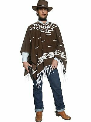Genuine Mexican Poncho Western Clint Eastwood Style Brown Unisex Costume Party