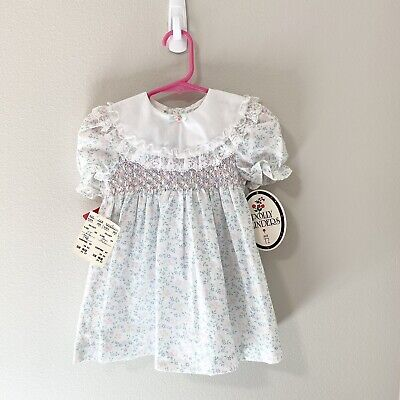 NWT Vintage Polly Flinders Toddler Baby Girl White Floral Dress 2T Nordstrom