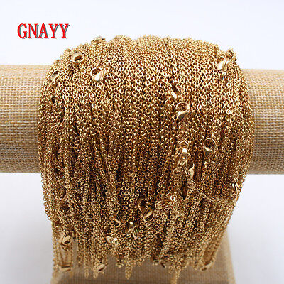 GNAYY lots 10pcs Gold Stainless Steel Rolo Link Chain Necklace 2mm 18'' women