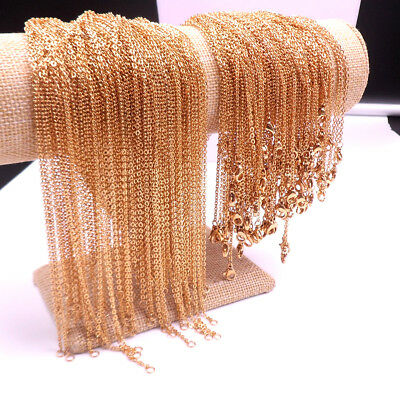 GNAYY  In Bulk 50pcs Gold Stainless Steel Rolo Link Chain Necklace 2.3mm 18''