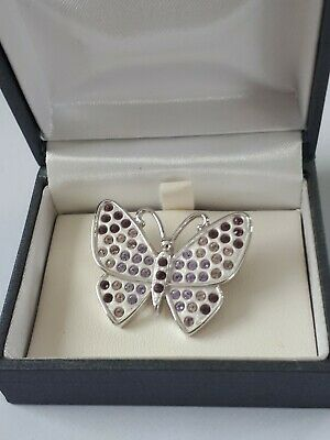 B3//ZX57 BEAUTIFUL SMART BUTTERFLY BROOCH WITH CHARCOAL GREY TAINTED WINGS
