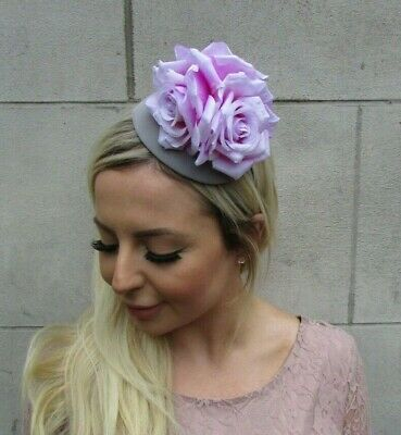 Grey Light Pale Lilac Rose Flower Teardrop Fascinator Hat Headband Hairband 0659
