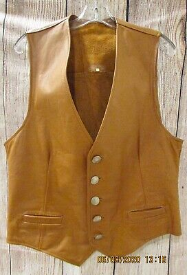 Leather Men's Western Vest Tan W/ Real Indian Head Nickel Buttons M