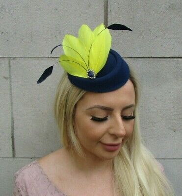 Navy Blue Yellow Silver Feather Pillbox Hat Hair Clip Fascinator Headpiece 0669
