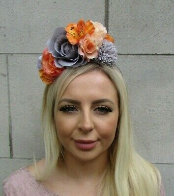 Orange Peach Grey Rose Lily Flower Floral Fascinator Headband Hairband Hair 0673