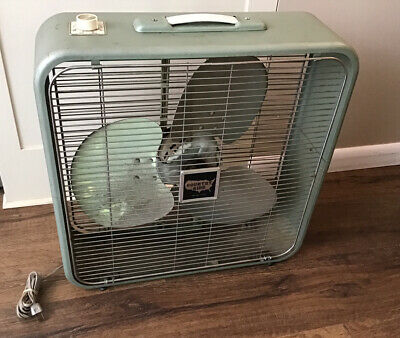 """Vintage Country Aire Metal Box Fan Coast To Coast 22"""" Industrial Mid Century"""