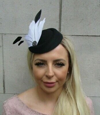 Black & White Feather Pillbox Hat Hair Clip Fascinator Headpiece Monochrome 0676