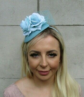 Duck Egg Light Aqua Blue Flower Teardrop Fascinator Hat Headband Hairband 0680