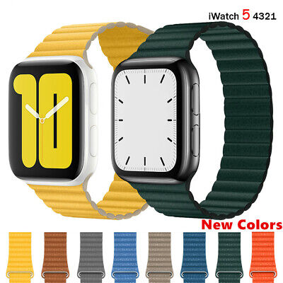 Magnetic Leather Loop Band For Apple Watch Series 5 4 3 iwatch Strap 42/40/44mm