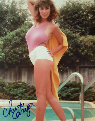 CHRISTY CANYON SIGNED 8x10 PHOTO w// PIC PROOF LOT 9