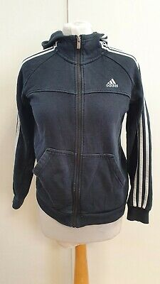 Q507 Boys Adidas Black Long Sleeve Full Zip Tracksuit Hoodie Uk 11-12 Yrs