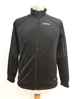 Q826 Boys Adidas Black L/Sleeve Sports Tracksuit Top Uk 11-12 Yrs