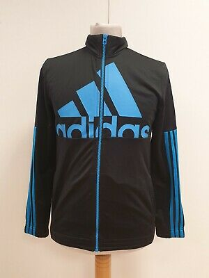 Q828 Boys Adidas Black L/Sleeve Sports Tracksuit Top Uk 13-14 Yrs