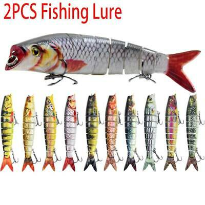 2X Fishing Lure 8-Segments Fish Bass Minnow Swimbait Tackle Hook Lure Crank Bait