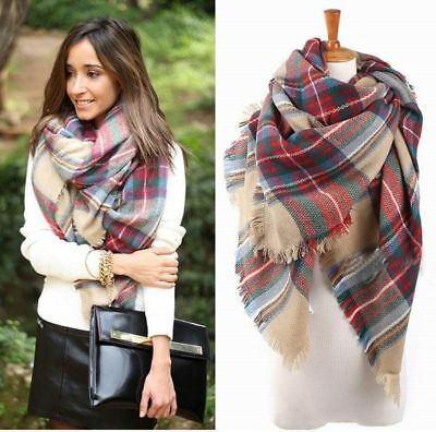 Lady Women Blanket Oversized Tartan Scarf Wrap Shawl Plaid Cozy