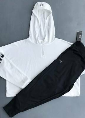 Women's Size Large Under Armour White Hoodie & Black Joggers Lot Nwt
