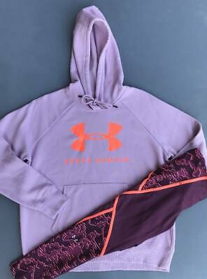 Women's Size Large Under Armour Purple Hoodie & Burgundy Pants Outfit Nwt