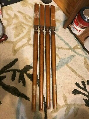 "4 Salvaged Antique Staircase Porch Railing 28-29"" Wood Spindles Balusters"