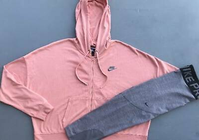 Women's Size Xl Nike Peach Hoodie Jacket & Gray Leggings Outfit New