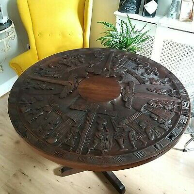 Ornate Dining Table African Round Wooden Glass Top With 3 Folding Legs Carved 1 150 00 Picclick Uk