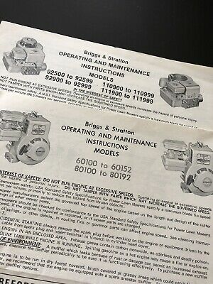 Vintage Briggs & Stratton Operating Instructions Maintenance 1976 1979