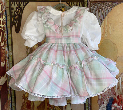 Vintage Toddler Girl Child Miss Quality Plaid Pastel Ruffle Pinafore Dress 3T