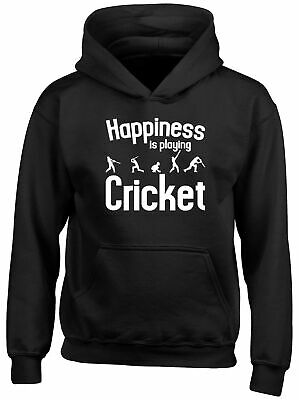 Happiness is Playing Cricket Childrens Kids Hooded Top Hoodie Boys Girls
