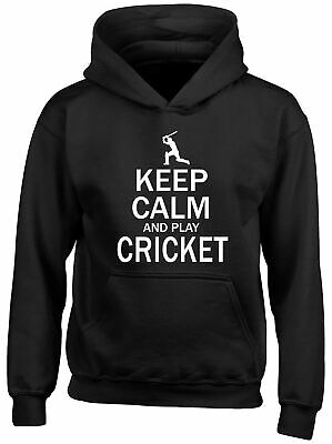 Keep Calm and Play Cricket Childrens Kids Hooded Top Hoodie Boys Girls