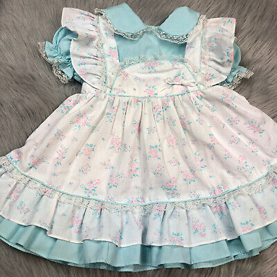 Vintage Toddler Girls Blue Pink White Floral Lace Ruffle Pinafore Dress
