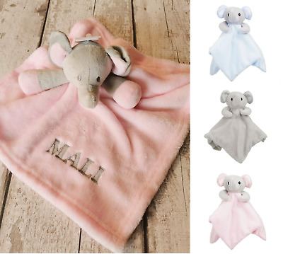 Personalised Name Mink Elephant Comforter Security Blanket Baby Shower Gift