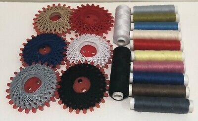 16 Sewing Thread Polyester Assorted Mixed Colour Reels VGC
