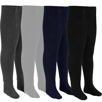 3 Pairs Girls Kids 75/% Cotton Plain School Tights Size Age 5-10 Years Grey