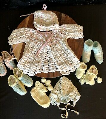 Vtg Crotchet Baby Outfit And Shoes Lot