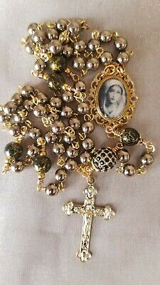 Rosary Natural Gemstone Gold Hematite and Black Glass Beads, Gold Plated Metal