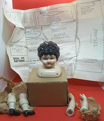 Doll Making Kit Parts Porcelain Head-Arms-Legs with cloth body pattern