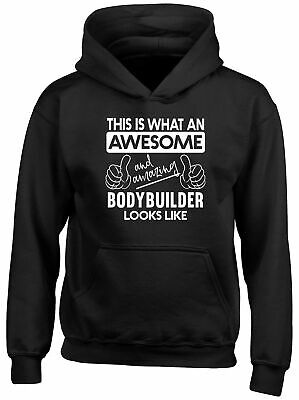 an Awesome and Amazing Bodybuilder Looks Like Childrens Kids Hoodie Boys Girls