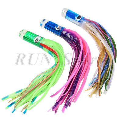 3 Color Marlin Resin Head Trolling Skirts Lure Big Game Fishing Bait Offshore