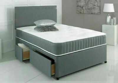 Grey Divan Bed With Orthopaedic Mattress & Headboard 3FT Single 4FT6 Double 5FT