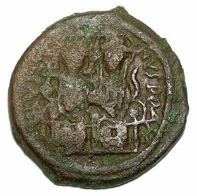 BYZANTINE BROZNE COIN FOLLIS JUSTIN AND SOPHIA CONSTANTINOPOLIS YEAR X 29 mm