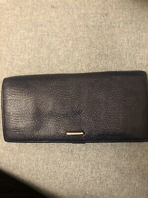 Epoi Authentic Womens Leather Clutch Wallet Navy Blue