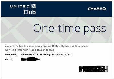 TWO United Airlines Club Lounge One Time Passes EXPIRES Sep 8 2021