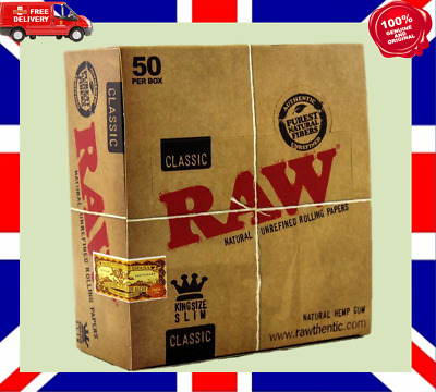 Raw King Size Slim Rolling Papers 110mm Classic Full Box of 50 Free P&P £17.25