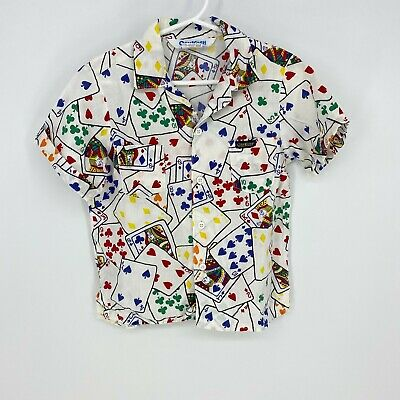 Rare! Vintage Oshkosh Playing Cards Boys Button Down Shirt Size 5 Made in USA