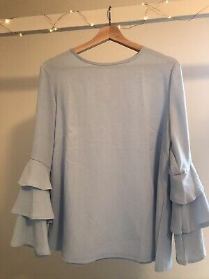 Lightweight Top Baby Blue Blouse Ruffle Sleeves Large
