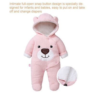 Boy Girl Thick Cute Bear Baby Jumpsuit Casual Hooded Romper Newborn Winter Warm