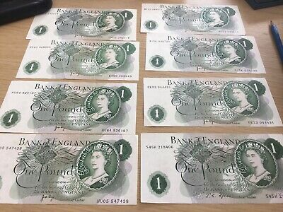 Old Green One Pound £1 Note  X 8 .Page . Bank Of England 100% Genuine