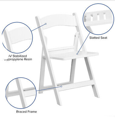 (4) HERCULES Series 1000 lb Capacity White Resin Folding Chair with Slatted Seat