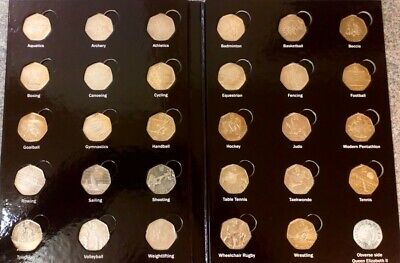 2012 London Olympic 50p Fifty Pence x 29 Coins - FULL SET In Display Folder
