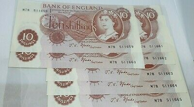 7 X Replacement Fforde Ten Shillings Notes Consecutive M78 1967-71 Auncirculated