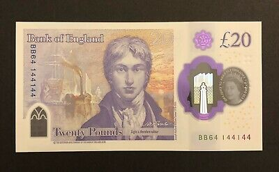 England New £20 Polymer Uncirculated Note Repeater Number BB64 144144 ( UNC )